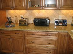 Tumbled Travertine Backsplash Travertine or tumbled marble