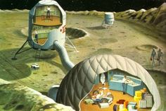 Behold the future of lunar living, circa 1969, illustrations by Ray G. Scarfo imagine a semi-permanent moon base in a May 1969 issue of Science Journal. (Paleofuture/Gizmodo)