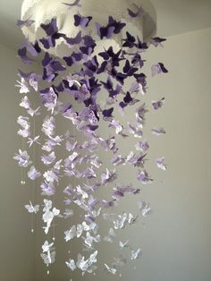 Paper Lace Chandelier Monarch Butterfly Mobile - purple and white Mix - Made to order. $90.00, via Etsy.