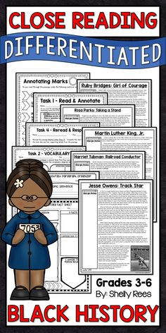 Black History Month Close Reading Passages. This packet has everything a teacher needs for a unit on Black History. Differentiated Reading Passages about Ruby Bridges, Rosa Parks, Martin Luther King, Jr. Harriet Tubman, and Jesse Owens, along with Close Reading activities make this unit of study interesting and engaging for students. LOVE this! Close Reading | Black History Unit | Rosa Parks | Ruby Bridges | Martin Luther King, Jr. | Reading Ideas | Teaching Ideas