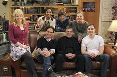 "BIG BANG THEORY: The Transporter Malfunction - Penny buys Leonard and Sheldon ""Star Trek"" collectibles as a thank-you, leading Sheldon to be haunted by Mr. Spock. ""Star Trek"" legend Leonard Nimoy voices Mr. Spock. Pictured left to right: (seated front row) Melissa Rauch, Johnny Galecki, Leonard Nimoy and Jim Parsons (back row) Kunal Nayyar, Simon Helberg and Kaley Cuoco."