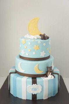 Moon, Stars, and Teddy Bear Cake
