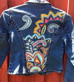 Girls Hand Painted UpCycled Denim Jean Jacket by JadeSongCreations, $65.00 www.etsy.com/