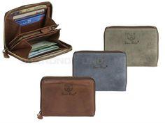 Bear Design GRIZZLY - Leder Geldbörse (6KF) Geldbeutel Portemonnaie Damen mit Reißverschluss