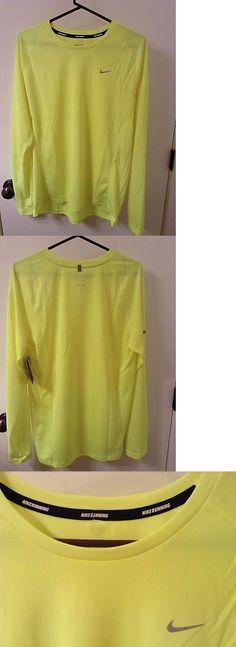 Shirts 59368: Nike Running Long Sleeve Drifit Shirt, Fury Yellow Size L -> BUY IT NOW ONLY: $40 on eBay!