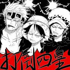 Kid, Luffy, Law, funny, text, manga; One Piece