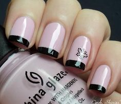 Pink n Black French Manicure