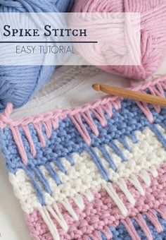 "How To: Crochet The Spike Stitch - Easy Tutorial ""Christina Yarn Passion: How To: Crochet The Spike Stitch - Easy Tutorial"", ""One of the many reasons I Knit Or Crochet, Crochet Crafts, Crochet Projects, Crotchet, Diy Crafts, Creative Crafts, Diy Projects, Crochet Stitches Patterns, Stitch Patterns"