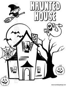 haunted house printable halloween kids coloring page