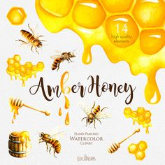 Watercolor Honey Bee Clipart Honeycomb Hand painted от ReachDreams