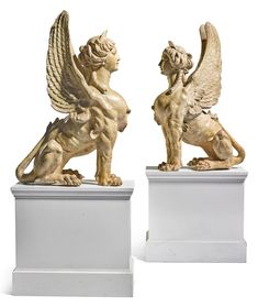 pair of sphinxes Mythological Creatures, Mythical Creatures, Sphinx Mythology, Art Sculpture, Sculpture Ideas, Animal Sculptures, Angel Tattoo Designs, Fantasy Monster, Roman Art
