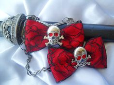 True Blood Gothic Red Eyes Hair Art Bows, Emo, Scene, Lolita, Rave, Punk, Cyber, Red Suger Skull , Cyber, Steampunk, Victorian hair play. $6.99, via Etsy.