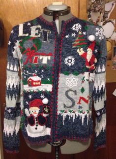 """Vintage 80's 90's Blue Cotton Christmas Sweater """"Heirloom Collectibles"""" Ladies M 