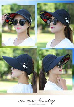 611740cc6e685 Summer Hats 2019 1PCS women summer Sun Hats pearl packable sun visor hat  with big heads wide brim beach hat UV