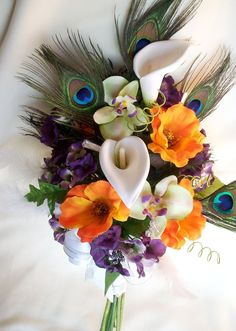 Peacock Wedding Bridal Bouquet orange Poppies Orchids Callas