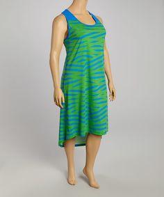 Look at this #zulilyfind! Green & Royal Blue Crisscross Stripe Sleeveless Dress - Plus #zulilyfinds