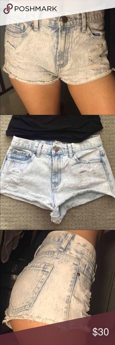 """Forever 21 Shorts Light Acid Wash Cheeky High Rise Size 26 (2-3) I'm usually size 25 or 26 (25"""" waist) in shorts and the waist is a little loose but they fit ok. Forever 21 Los Angeles High Waisted Waist   Feel free to offer on my other items or bundle this and make an offer. Just bundle all  your likes and there is now an offer button for bundles 😊👗👢👙   Filter through my items, I have a lot for sale. Forever 21 Shorts Jean Shorts"""