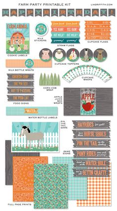 Farm Day-- $25 for printables? Pin the tail on the donkey, cute food labels