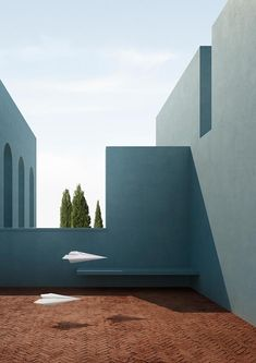 """(No) gravity linear and simple architectural settings, inspired by buildings like """"house and studio"""" of luis barragan and """"la muralla rosa"""" of ricardo Cultural Architecture, Minimalist Architecture, Architecture Design, Mobile Architecture, Contemporary Abstract Art, Contemporary Landscape, Lumiere Photo, Minimalist Photography, Land Scape"""