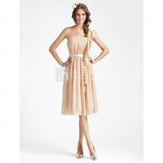 Sheath/ Column One Shoulder Knee-length Draped Chiffon Bridesmaid Dress