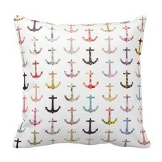 Vintage retro sailor girly floral nautical anchors pillows.  Great buy for cabin, home or office decor.  Love nautical themes..