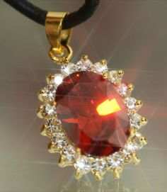 3ct Created Ruby & Diamond Oval Pendant + Necklace