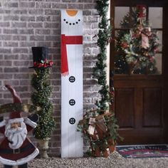 snowman wood plank plaque - Christmas Decor Outside