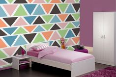 Illustrated Geometric Triangles Wall Mural
