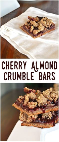 Cherry Almond Crumble Bars - Gluten Free, Vegan & so simple to make!