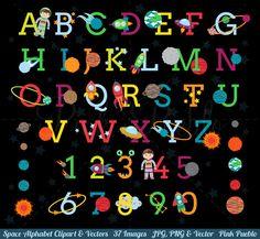 Pink Pueblo's Space Alphabet Clipart set includes 37 PNG files with transparent backgrounds, 37 JPG files with white backgrounds and 1 Adobe Illustrator vector Alphabet A, Doodle Alphabet, Clipart, Wallpaper Space, Photo Wallpaper, Planets Wallpaper, Alfabeto Doodle, Png Vector, Vector File