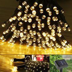LE Solar Fairy String Lights 100 LEDs 55ft 17m, Waterproof, Warm White…