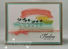 """The Work of Art Stamp set is fabulous. I made this sunset beach themed card.  Also uses the Stampin' Up! stamp set """"Wetlands""""."""