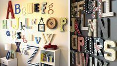 décoration des murs / lettres en bois ou carton / bonne idée quand on ne veut pas peindre directement sur ses murs
