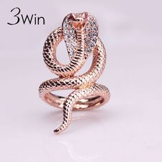 3Win Brand High Quality Fine Jewelry Fashion Punk Anillos Rose Gold Plated Animal Rhinestone Snake Rings For Women Size 7 8 9