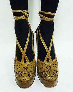 Vintage BIBA Shoes Womens Heels Lasercut Leather Brown Tan Laces, late 1960's, early 1970s