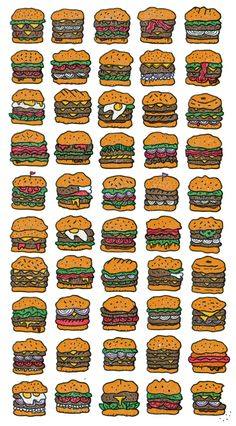 Illustration by Brooklyn-based illustrator Mikey Burton - from on Ello. Burger Drawing, Food Drawing, Sandwich Drawing, Food Illustrations, Illustration Art, Burger Icon, Art Design, Graphic Design, Burger Party
