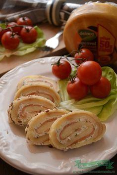 Rulada de Cascaval Afumat cu Somon Picnic, Ice Cream, Breakfast, Cake, Kitchen, Salads, No Churn Ice Cream, Pie Cake, Cuisine