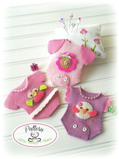 Mini Onesies Set of Three-PDF Sewing Patterns-Baby shower favors--Baby girl onesies patterns-Baby One Year party favor-Diaper cake topper