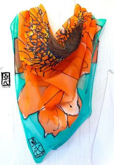 Hand Painted Square SIlk Scarf