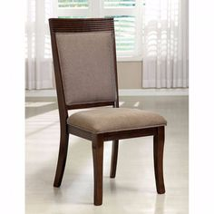 Charmant Furniture Of America Fermin Fabric Padded Dinner Chair Walnut
