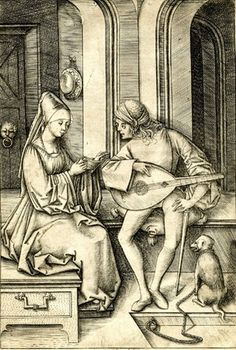Israhel van Meckenem - The Lute Player and the Singer, first state. c. 1500 Engraving