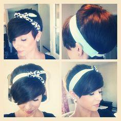 Long pixie cut with headband. Cute!