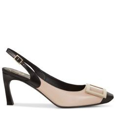 Sling Back Cut Trompette Pumps in Leather