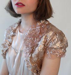 Rose Gold Sequin Bridal Shrug Bolero Custom Order by hollystalder