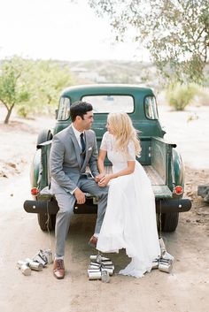 Todd and Ashleigh's dreamy rustic chic wedding, featuring our timeless Valentina gown.