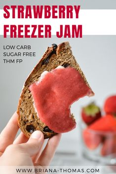 One of my favorite things ever is my mom's homemade strawberry freezer jam. When I started eating sugar free, I needed a replacement. No sugar! It's also low carb and a THM Fuel Pull! Trim Healthy Mama Diet, Trim Healthy Recipes, Best Low Carb Recipes, Thm Recipes, Sugar Free Recipes, Cream Recipes, Diabetic Recipes, Strawberry Freezer Jam, Homemade Strawberry Jam