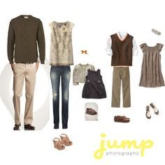 My favorite scheme, AGAIN!  Brown, denim and khaki!  Safe and again, something everyone has in their closets!  This leaves room for the addition of blue or some subtle color pop!  I am loving the hint of orange!