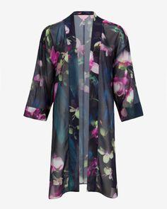 Fuchsia Floral kimono - Dark Blue | Tops & Tees | Ted Baker