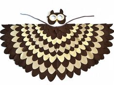 Wise owl costume.. Kids bird costume to dress up like owl from Winnie-the-Pooh. Owl costume for Halloween or Carnival. Mask and wing set.