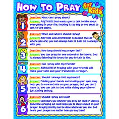 The How to Pray for Kids chartlet answers six common questions about prayer using child-friendly language. This x chart for students adds a visual component to Christian studies and is ideal t Bible Study For Kids, Bible Lessons For Kids, Kids Bible, Children's Bible, Bible Quotes, Bible Bag, Toddler Bible, Bible Verses For Kids, Bible Songs